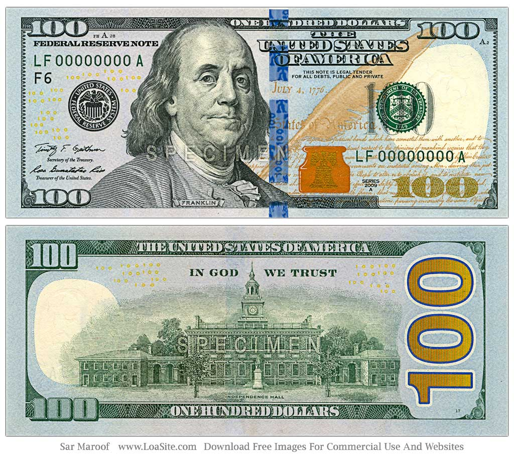 Clean image with printable 100 dollar bill front and back